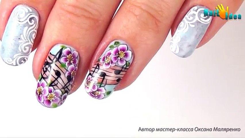 Рисунки ГЕЛЬ-ЛАКАМИ пошагово. Дизайн ногтей с НОТАМИ и ЦВЕТАМИ. Роспись плоской кистью. Видео урок