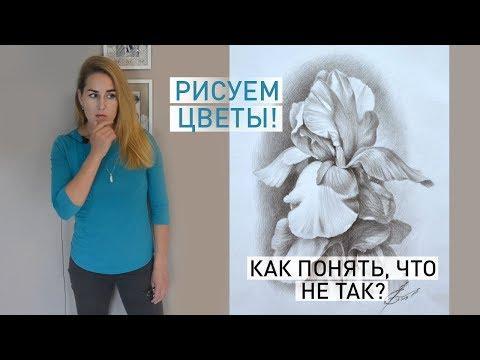 Как нарисовать цветок | рисуем цветы ирисы поэтапно | РАБОТА НАД ОШИБКАМИ | Уроки рисования