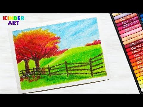 Как нарисовать осенний пейзаж масляной пастелью поэтапно для начинающих