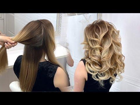 Объемные 3D локоны. Прическа на средние волосы. Красивые прически пошагово