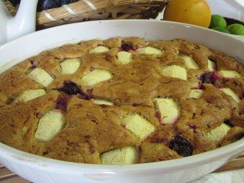 Рецепт - Пирог с брусникой и яблоками