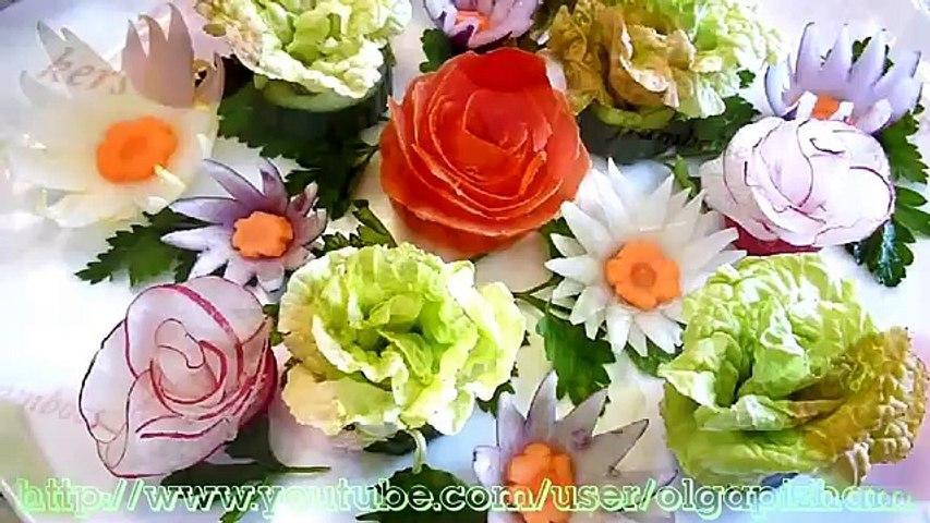 5 Лайфхаков Как красиво нарезать овощи!Цветы из овощей! Украшения салатов