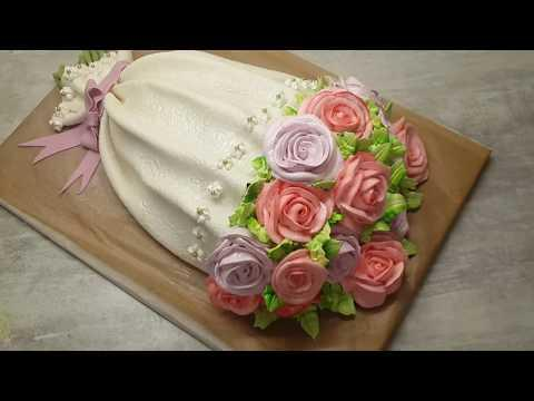 Торт Букет | Как сделать торт букет роз из крема и мастики