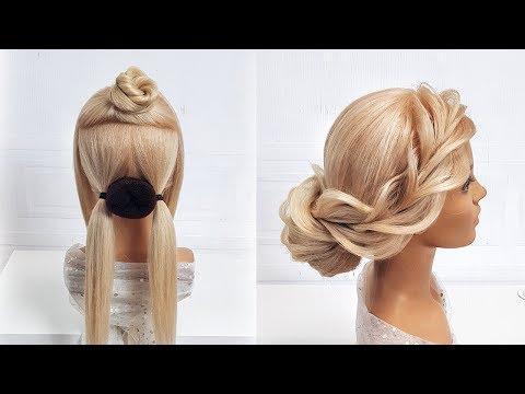 Свадебная прическа на средние волосы. Красивые прически пошагово. Коса