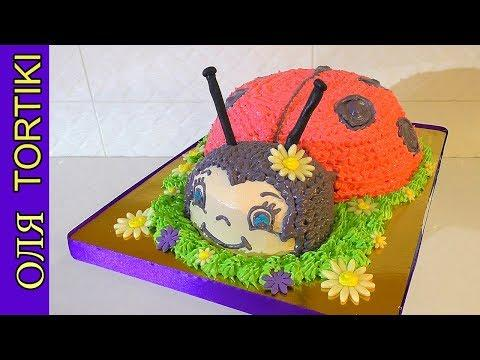 """ТОРТЫ Торт """"Божья Коровка"""" Кремовый Торт Сборка и украшение торта Ladybug Cake"""