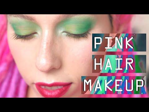 Pink Hair Make Up: green eyeshadow tutorial | Макияж под розовые волосы с LimeCrime, NARS, Sleek