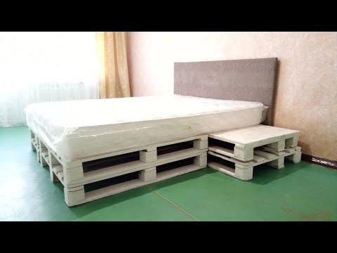Кровать из поддонов (паллет) своими руками / Bed of pallets with their own hands